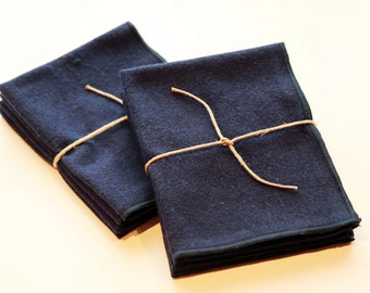 Navy Blue Flannel Cloth Napkins