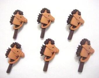 Toy Buttons Stick Pony Jesse James Buttons Boyz Toyz Dress It Up Buttons Set of 6 Shank Back - 103