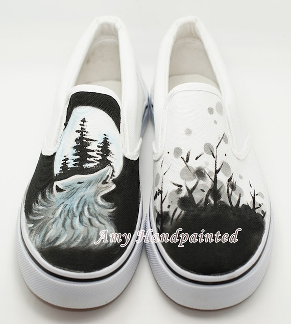 items similar to wolf totem painted shoes flat