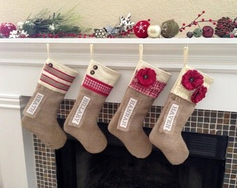 Custom Handmade Personalized Burlap Christmas Stockings
