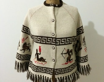 1970's Astrology sweater with fringe small