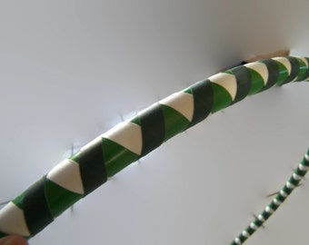 Green Peace Weaver, Collapsible Hula Hoop, Travel Hoop, Adult Sizes, White and Green Vinyl tape with Forest Green Gaffer