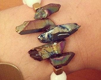 Crystal quartz stretch bracelet