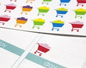 30 Small Grocery Cart Stickers! Perfect for your Erin Condren Life Planner, Filofax, Plum Paper & other planner or scrapbooking! #SQ00188