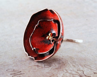 POPPY - enameled and silver flower ring