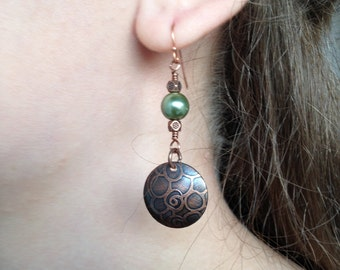 Copper Etched Earrings with Green pearl