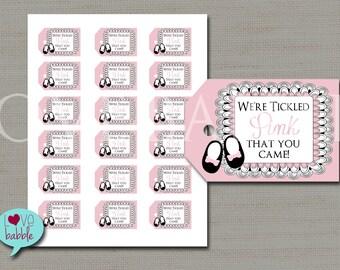Tickled Pink favor tag, baby girl shower favor tag  - PRINTABLE DIGITAL FILE (1) Sheet of 18 tags