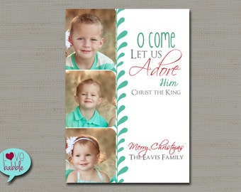 Christmas Holiday Photo Card, Religious Christian - PRINTABLE DIGITAL FILE - 5x7