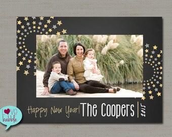 Happy New Year's Photo Card, Chalkboard Stars Black Gold PRINTABLE DIGITAL FILE - 5x7