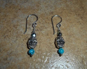 Skull Earrings with Turquoise bead