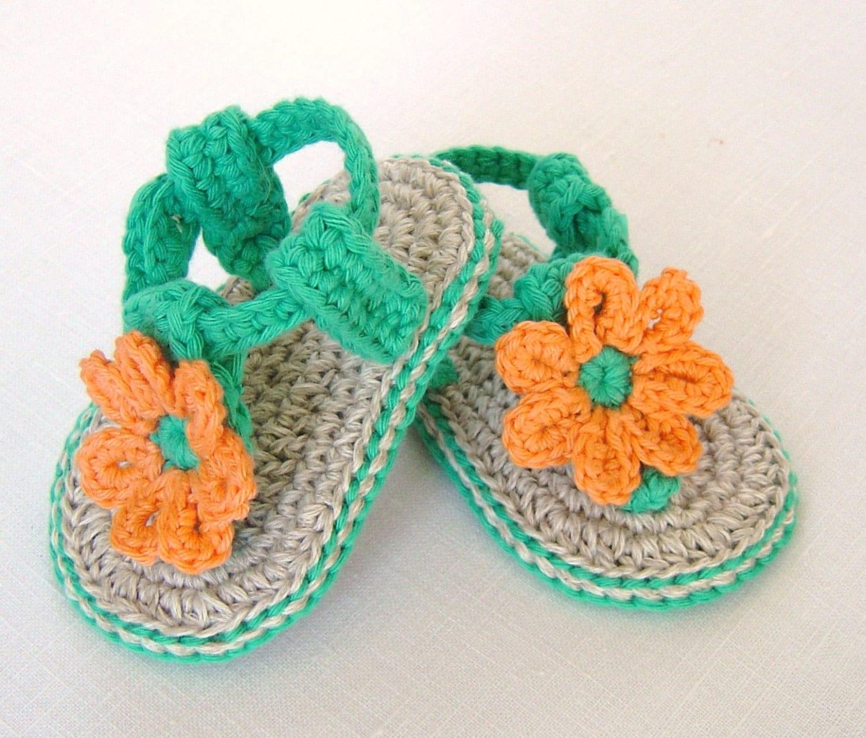 Crochet Pattern For Beaded Baby Sandals : CROCHET PATTERN Baby Flower Sandals 3 Sizes Easy Photo