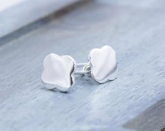 925 stering silver shiny clover stud earrings (E_00048)
