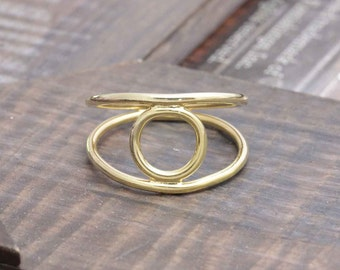 925 vermeil gold double band open circle ring , moon ring, round ring