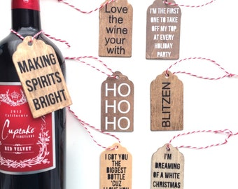 Christmas wine tags, wine tags, gift tags, wine labels, hostess gift