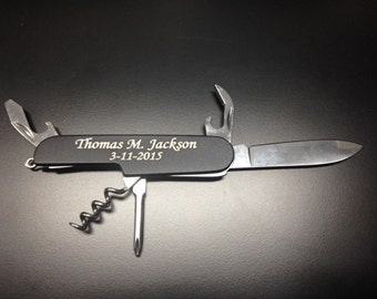 Personalized 5 function Pocket Knife - Wedding or Birthday Gift