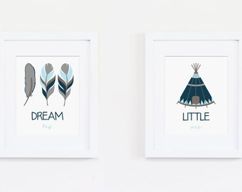 Tribal Art Print - Dream Big Little One Art Quote - Feather Art, Teepee Art - Nursery Art Print, Tribal Nursery Art - Instant Download