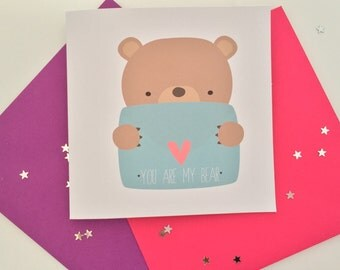 You are my bear - teddy bear handmade valentine card - uk with choice of envelope