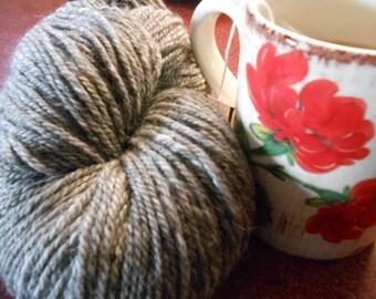 100% alpaca, natural, heather gray, 3 ply, worsted yarn