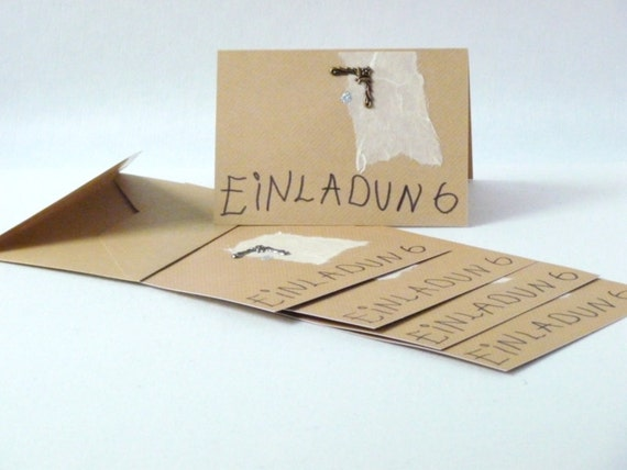 Sale Einladungskarten Kraftpapier Barrock Handgefertigt, Einladung. Einladungskarten  Kindergeburtstag ...