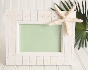 Weathered White Wood Starfish Photo Frame