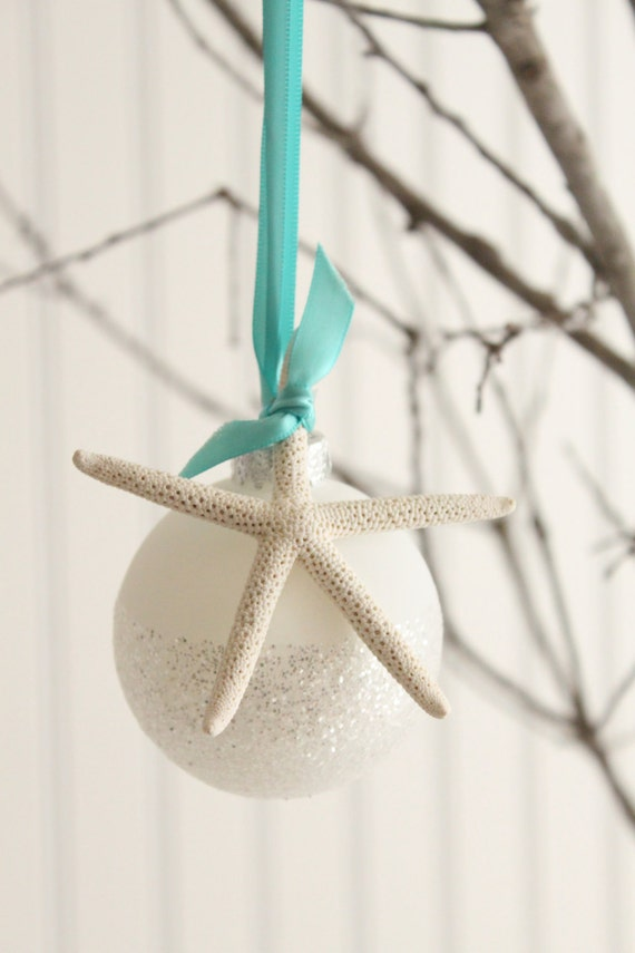 Starfish Glitter Glass Ornament