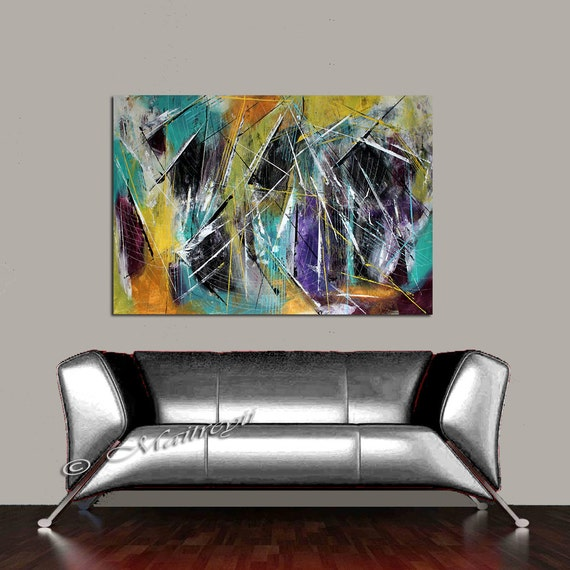 Living Room Decor Teal Orange Grey Wall Art On By Largeartwork