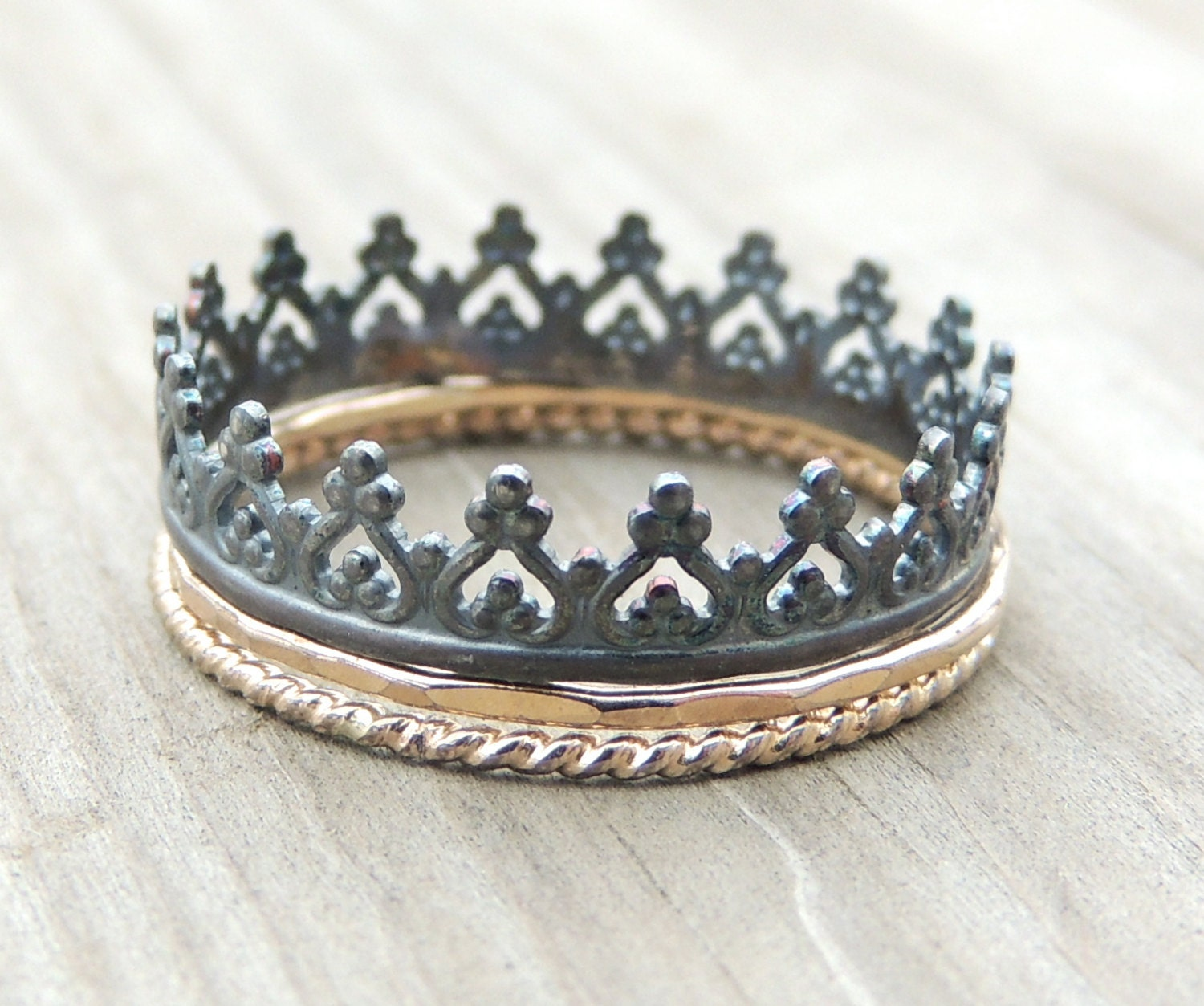 crown ring 14k gold ring set sterling silver ring rope by
