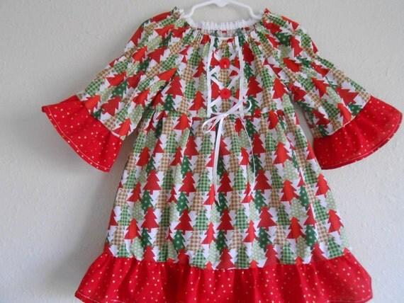 Items Similar To Girls Christmas Dress-Red Green Christmas