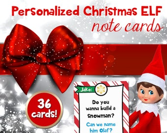Personalized Elf note cards, notes from Christmas Elf, Holiday printable notes for kids from Santa's Elf (Instant digital download: PDF)