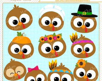 Turkey Face Clipart Set - For Commercial and Personal Use Cliparts