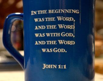 John 1:1 Engraved Ceramic Mug in English & Latin for Classical Conversations - Quantity 1