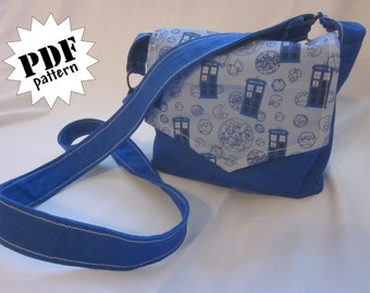 Pattern: Mini messenger-style cross-body bag/purse