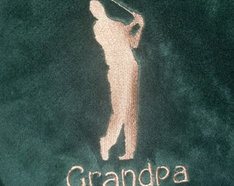 Plush Embroidery Golfer Personalized Throw Blanket