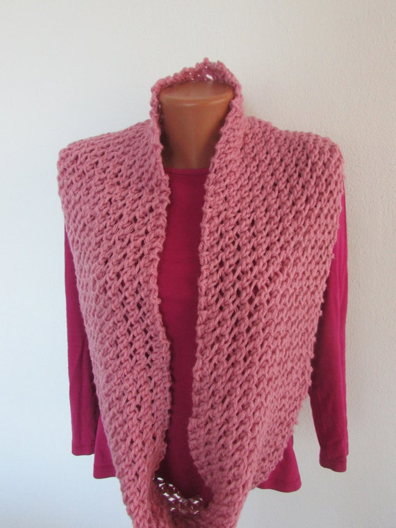 Women knit pink scarf infinity loose knit scarf by ...