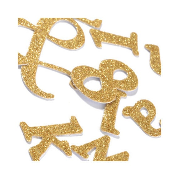 glitter letter stickers and glitter number stickers in gold With gold letter stickers