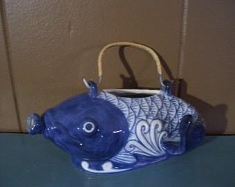 Asian White Blue Koi Fish Pitcher Oriental Tea Pot