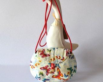 Butterfly purse, Colourful cross body bag, Asian fabric bag, Tween cross body bag