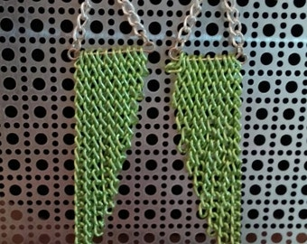 Neon Green Assymetrical Chain Earrings