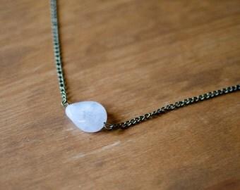 The Ada : pale pink rose quartz necklace