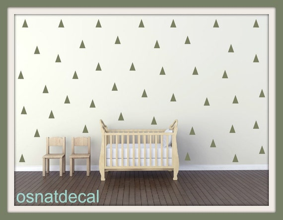 FREE SHIPPING 144 Triangles Green Colors.Nursery Wall Decal. Wall Sticker. Wall Art. Kids Wall Decal. Home Decor.Vinyl Wall Decal.
