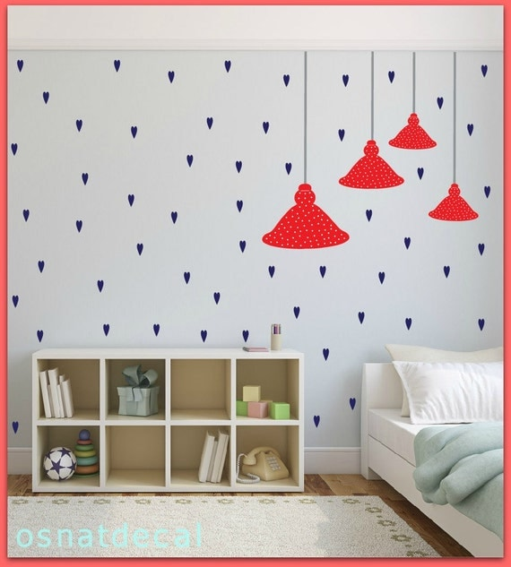 FREE SHIPPING Wall Decal, 4 Ceiling lamps.Differnt Sizes. Red With White Dot.& 71 Blue Hearts. Nursery Wall Decal. Vinyl Wall Decal. Diy