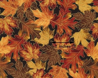 Metallic Fall Leaves Fabric, Timeless Treasures Harvest CM2092 Harvest, Fall Quilt Fabric, Thanksgiving Fabric, Oak & Maple Leaves, Cotton
