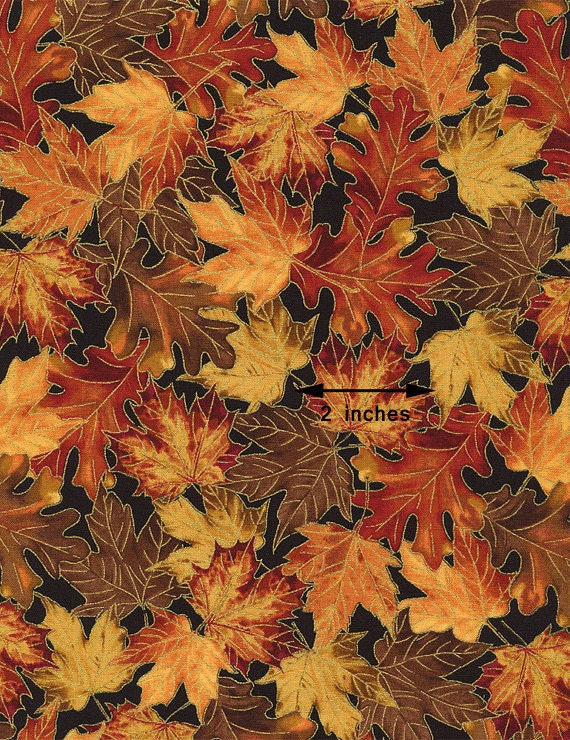 Metallic Fall Leaves Fabric, Timeless Treasures Harvest CM2092 ... : fall quilt fabric - Adamdwight.com