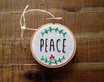 peace embroidery hoop ornament