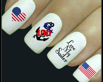 Nail Decal Love My Soldier Nail Art 20 Water Slide Decals Navy Nail Tattoos Nail Transfers Fingernail Decals