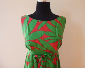 Vintage red and Green Hawaiian Sundress 1960's