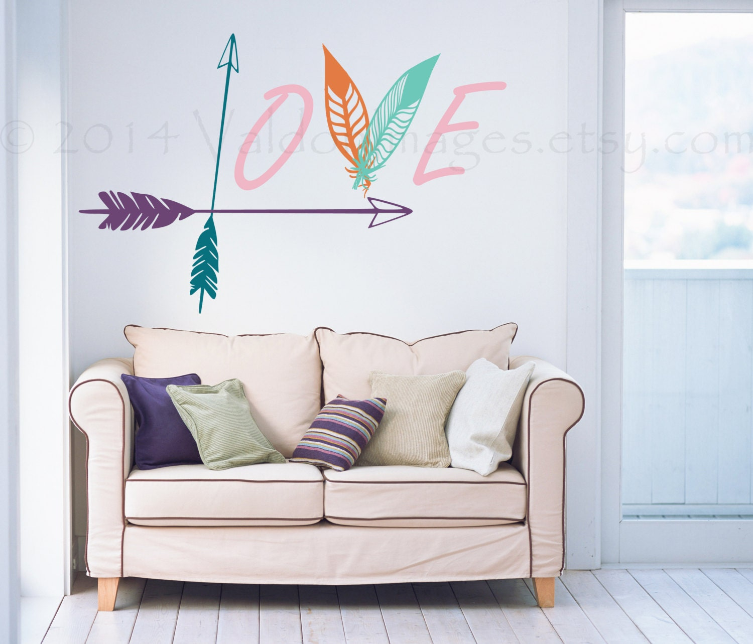 Arrow and feather wall decal love wall decal bedroom wall for Bedroom wall decals