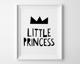 Little princess, baby girl nursery quote, printable wall decor, girls nursery art, playroom decor, black and white sign, digital print