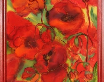 Painting on silk Original Artwork Red Poppies  MADE TO ORDER  Exclusive gift Hand Painted Silk