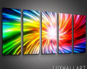 Metal Wall Art Canvas Abstract Modern Contemporary Home Decor Bursty 5 Panel